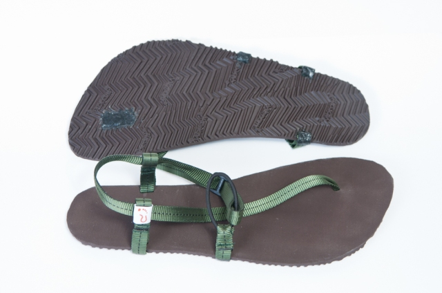 Wokova Feather ultra lightweight running sandal with brown sole and olive green straps